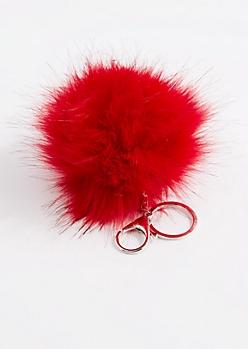 Red Faux Pom Keychain