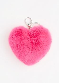 Pink Fluffy Heart Handbag Charm