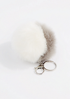 Gray & White Pom Handbag Charm