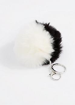 Black & White Pom Handbag Charm