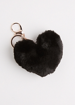 Black Furry Pom Handbag Charm