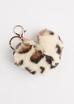 Leopard Furry Pom Handbag Charm