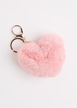 Pink Furry Pom Handbag Charm