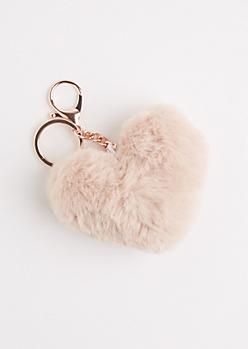 Taupe Furry Pom Handbag Charm