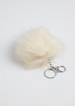 Ivory Fluffy Pom Handbag Charm