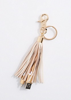 Rose Gold Tassel USB Handbag Charm