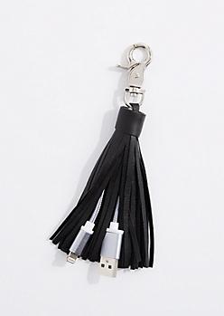Black Tassel USB Handbag Charm