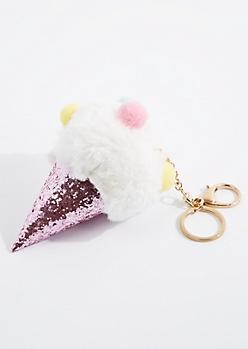 Glittering Ice Cream Cone Handbag Charm