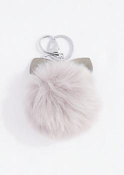 Gray Monster Ear Pom Handbag Charm