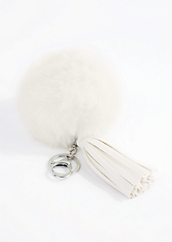 White Pom & Tassel Handbag Charm