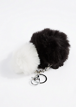 Black & White Double Pom Handbag Charm
