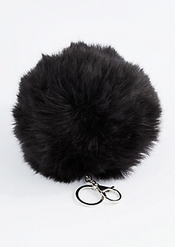 Black Oversized Pom Handbag Charm