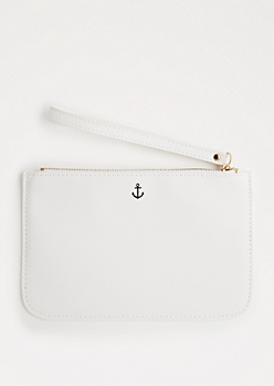 White Anchor Wristlet
