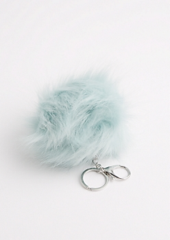 Mint Fluffy Pom Handbag Charm