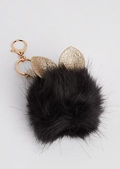 Black Glittering Bunny Pom Handbag Charm