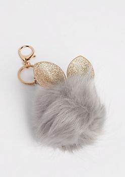 Gray Glittering Bunny Pom Handbag Charm