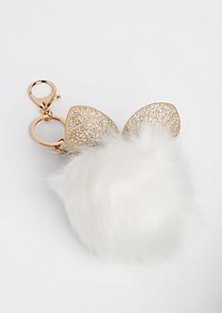 White Glittering Bunny Pom Handbag Charm