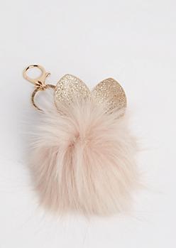 Taupe Glittering Bunny Pom Handbag Charm