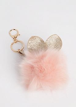 Pink Glittering Bunny Pom Handbag Charm