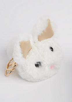 White Bunny Pom Handbag Charm
