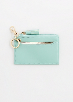 Mint Tassel Key Chain Wallet