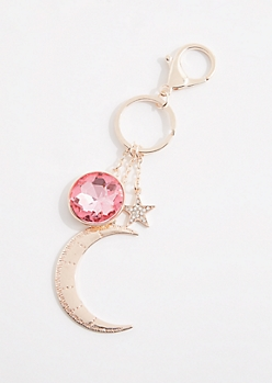 Rose Gold Metal Crescent & Stone Handbag Charm