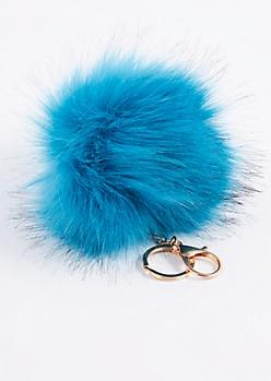 Teal Oversized Pom Handbag Charm