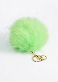 Neon Green Oversized Pom Handbag Charm