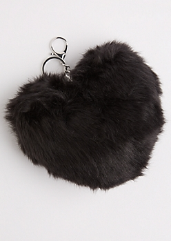 Black Oversized Furry Pom Handbag Charm