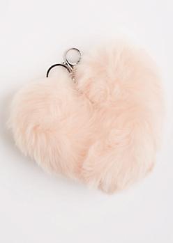 Pink Oversized Furry Pom Handbag Charm