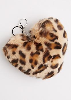 Leopard Oversized Furry Pom Handbag Charm
