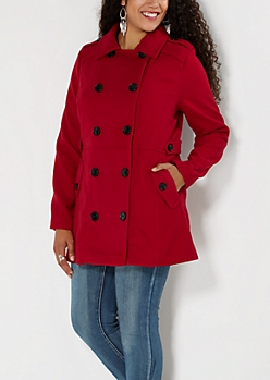 Plus Red Button-Down Pea Coat