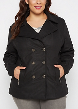 Plus Black Zip Pocket Wool Peacoat