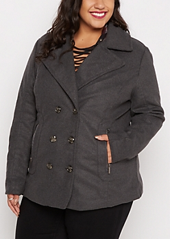 Plus Charcoal Zip Pocket Wool Peacoat