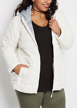 Plus White Hooded Puffer Jacket