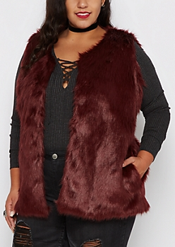 Plus Burgundy Faux Fur Soft Vest