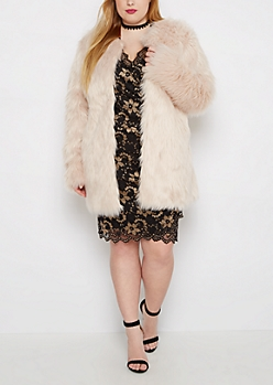 Plus Pink Diva Faux Fur Coat