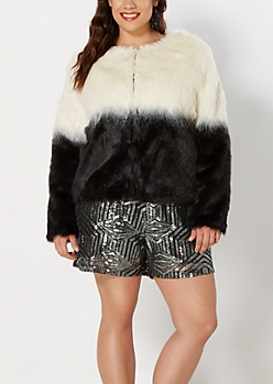 Plus Dip Dye Faux Fur Coat