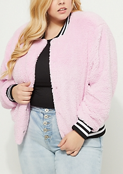 Plus Pink Teddy Bear Sherpa Bomber Jacket