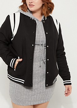 Plus Black Striped Wool Varsity Jacket