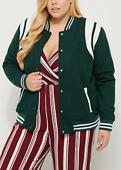 Plus Green Striped Wool Varsity Jacket