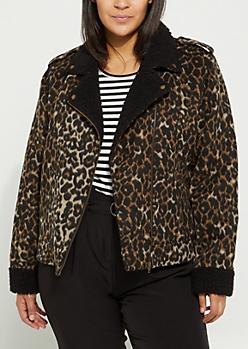 Plus Leopard Sherpa Moto Jacket