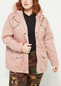 Plus Pink Faux Fur Hooded Anorak