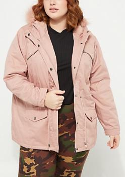 Plus Pink Faux Fur Hooded Anorak