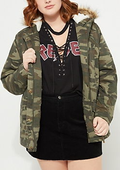 Plus Camo Faux Fur Hooded Anorak
