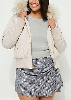 Plus Pink Faux Fur Hooded Bomber
