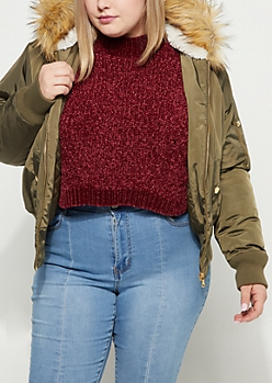 Plus Olive Faux Fur Hooded Bomber