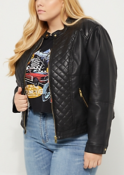 Plus Black Quilted Sherpa Jacket