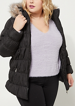 Plus Ruched Black Puffer Jacket