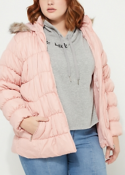 Plus Ruched Pink Puffer Jacket